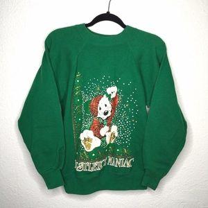 Vintage Xmas Mistletoe Maniac Puff Paint Sweater